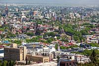 Georgia, Tbilisi, high angle city skyline from Mtatsminda Park