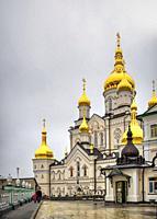 Pochaev, Ukraine 01. 04. 2020. Holy Dormition Pochaev Lavra in Pochaiv, Ukraine, on a gloomy winter morning before Orthodox Christmas.