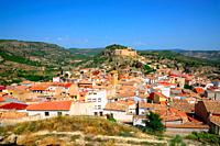 Enguidanos, Spain - September 2, 2018: Population of Enguidanos and its castle.