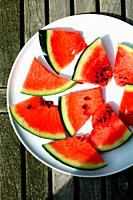 Watermelon plate on wooden table