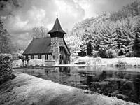 Infrared image of the Masonic Lodge and mill pond at Rickford in the Mendip Hills Area of Outstanding Natural Beauty at Rickford, North Somerset, Engl...