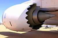 Rolls Royce RB211 jet engine attached to a Boeing 767.