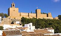 The Alcazaba of Antequera, Malaga Province, Andalusia, southern Spain. The medieval castle was built by the Moors over earlier Roman fortifications.