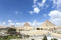The three main pyramids and the Sphinx, Giza, Egypt.