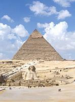 The pyramid of Khafre with the Sphinx, Giza, Egypt.