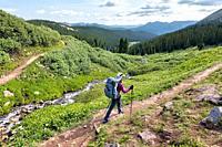 Thru-hiking the long distance Colorado Trail near Kokomo Pass, Colorado.