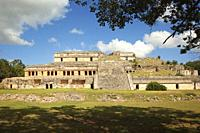 View to The Great Palace-Palacio Norte at the Prehispanic Mayan Archaeological Site Sayil in the Puuc Route, Merida, Yucatan State, Mexico, Central Am...