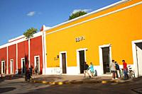 People in front of the colonial buildings at the historic center, Valladolid, Yucatan State, Mexico, Central America.