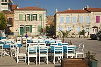 View to the traditional houses in Marsilya Square at the town center of Old Foca, the ancient Phokaia, Foca, Izmir, Aegean Region, Turkey, Europe.