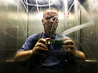 Berlin, Germany. Elevator Selfie of a mature adult male in an Elevator Mirror.