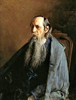 Yaroshenko Nikolai - Portrait of Mikhail Saltykov-Shchedrin - Russian School - 19th and Early 20th Century.