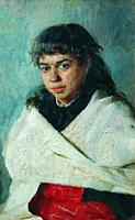 Yaroshenko Nikolai - Portrait of Poliksena Solovyova - Russian School - 19th and Early 20th Century.