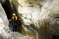 Canyoneering in Pyrenees, Huesca Province in Spain.