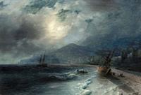 Aivazovsky Ivan Constantinovich - a Beached Ship - Russian School - 19th Century.