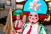 Chocalleiros. Traditional mask of the Entroido in Vilardevos, Orense, Spain.