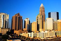 The Bank of America Building towers over the growing skyline of Charlotte, North Carolina.