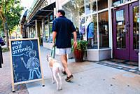 An adult man and his dog stroll by the boutiques and unique shops of Atlantaâ. . s Virginia Highlands shopping district.