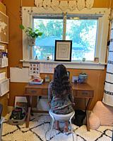 9-year Old Girl in Home Study Space.