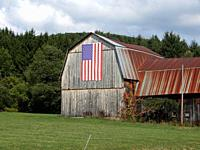 Barn Displaying American Flag, Andover, New York, USA.