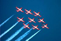 Canadian Forces Snowbirds - Royal Canadian Air Force fly over Port Huron, Michigan bordering Canada.