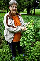 Woman holding a bunch of freshly cut celery stocks.