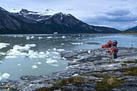Touristic exploration, Darwin Mountain Range, Beagle Channel, Tierra del Fuego Archipelago, Magallanes and Chilean Antarctica Region, Chile, South Ame...