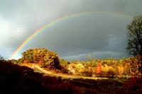 Rainbow during fall colors Michigan.
