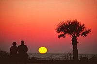 . . senior couple view sunset together on Naples Beach, Florida.
