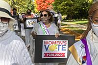 Grosse Pointe, Michigan - A parade marks the 100th anniversary of women winning the right to vote. The parade was organized by the American Associatio...