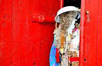 Maragato or peliqueiro. Mask of Entroido Ribeirao, Santiago de Arriba, Chantada, Lugo, Spain.