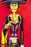Colorful Mexican Day of the Dead Statue Handicrafts Los Cabos Cabo San Lucas Mexico.