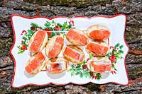 appetizer original italian fine cuisine with salmon.