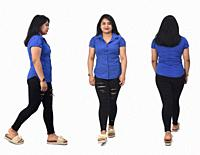 back, front and side view of same woman walking on white background.