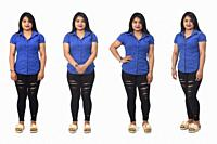 view of the same latino americana woman standing in different poses on white background.