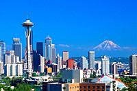 Seattle, Washington skyline with Mt Ranier in the background.