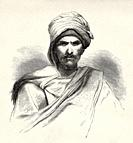 Bedouin from Sinai peninsula, Egypt. Old XIX century engraved from Travels in Sinai Le Tour du Monde 1864.