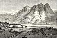 Saint Catherine's Monastery at Mount Sinai, Egypt. Old Old XIX century engraved from Travels in Sinai Le Tour du Monde 1864.