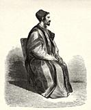 Portrait of Procopius, Father Treasurer in Saint Catherine's Monastery, Egypt. Old XIX century engraved from Travels in Sinai Le Tour du Monde 1864.