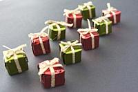 Christmas gifts with glowing lights.