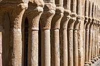 arcaded gallery of semicircular arches on paired columns, Church of the Savior, 13th century rural Romanesque, Carabias, Guadalajara, Spain.
