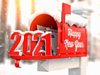 Happy New 2021 Year. Mailbox with letters and number 2021. 3d illustration.