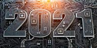 New 2021 year in computer technology and internet commucations industry concept. Motherboard chipset with number 2021. 3d illustration.