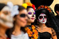 Young Mexican women, dressed as La Catrina, a Mexican pop culture icon representing the Death, take part in the Day of the Dead celebrations in Oaxaca...