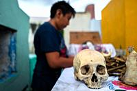 POMUCH, MEXICO - OCTOBER 28: A Mayan boy cleans dried-up bones of a deceased family member during the bone cleansing ritual at the cemetery on October...