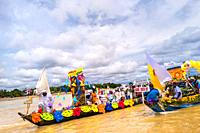 The Franciscan districts representatives travel the Atrato river in colorfully adorned boats during the San Pacho festival in Quibdó, Colombia, 3 Octo...