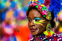 An Afro-Colombian dancer of the La Yesquita neighborhood takes part in the San Pacho festival in Quibdó, Colombia, 30 September 2019. Every year at th...