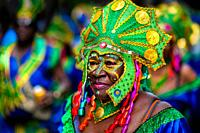 An Afro-Colombian dancer of the Pandeyuca neighborhood takes part in the San Pacho festival in Quibdó, Colombia, 29 September 2019. Every year at the ...