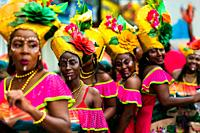 Afro-Colombian dancers of the Pandeyuca neighborhood perform during the San Pacho festival in Quibdó, Colombia, 29 September 2019. Every year at the t...