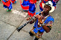 An Afro-Colombian clarinet player of the Pandeyuca neighborhood performs during the San Pacho festival in Quibdó, Colombia, 29 September 2019. Every y...