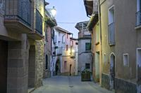 Loarre in Huesca province Aragon Spain on August 19, 2020, the old village by twilight.
